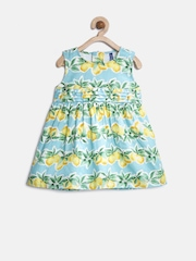 YK Baby Girls Green Printed A-Line Dress