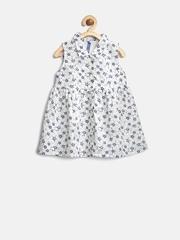 YK Baby Girls White & Navy Floral Print Shirt Dress