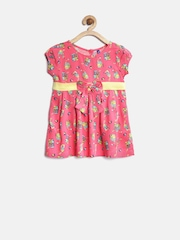 YK Baby Girls Pink Printed Fit & Flare Dress