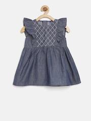 YK Baby Girls Blue Denim Fit & Flare Dress
