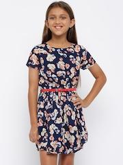 YK Girls Navy Floral Print Fit & Flare Dress