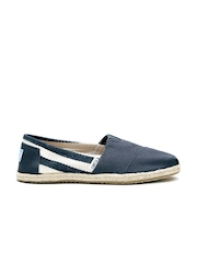 TOMS Women Navy Striped Canvas Espadrilles