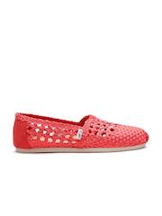TOMS Women Red Braided Slip-Ons