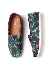 TOMS Women Navy & Green Leaf Print Slip-Ons