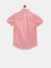Indian Terrain Boys Coral Pink & White Checked Casual Shirt