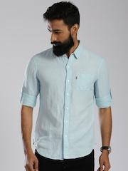 Levi's Blue Slim Linen Casual Shirt