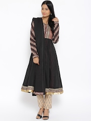 BIBA Black & Beige Printed Anarkali Kurta with Trousers & Dupatta