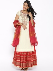 BIBA Off-White & Red Embroidered Kurta with Skirt & Dupatta