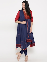 Biba Blue & Brick Red Woven Design Anarkali Churidar Kurta with Dupatta