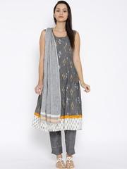 BIBA Grey Ikat Print Anarkali Kurta with Trousers & Dupatta