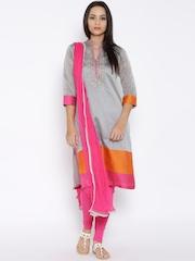 BIBA Grey & Pink Embroidered Churidar Kurta with Dupatta
