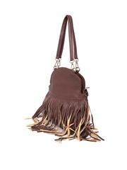 Lisa Haydon for Lino Perros Brown Fringe Shoulder Bag with Sling Strap