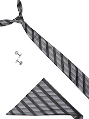 Lino Perros Men Black Stripe Patterned Accessory Gift Set