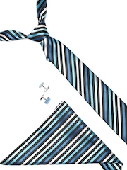 Lino Perros Men Blue Striped Accessory Gift Set