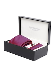 Lino Perros Men Maroon Patterned Accessory Gift Set