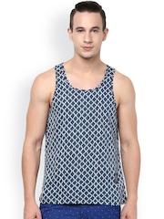 Atorse Navy Printed Innerwear Vest S16SND025