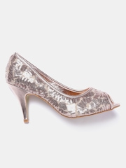 DressBerry Women Rose Gold-Toned Sequinned Peep-Toes