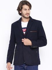 Timberland Navy Heathered Single-Breasted Casual Blazer