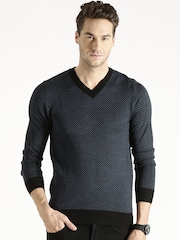 Antony Morato Blue Herringbone Patterned Woollen Sweater