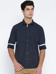 Pepe Jeans Men Navy Regular Fit Printed Casual Shirt
