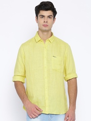 Pepe Jeans Men Yellow Linen Semi Fit Casual Shirt