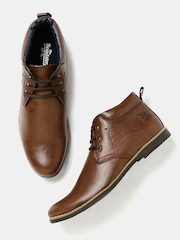 Roadster Men Brown Solid High-Tops Flat Boots