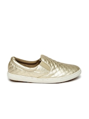 Carlton London Women Muted Gold-Toned Quilted Casual Shoes