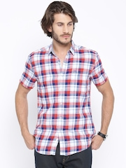 Lee Red & Blue Checked Slim Fit Casual Shirt