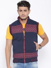 Fort Collins Maroon & Navy Printed Reversible Quilted Jacket