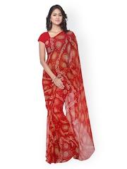 Rajnandini Red Georgette Bandhani Print Saree
