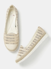 Mast & Harbour Women Beige & Gold-Toned Striped Shimmery Flat Shoes