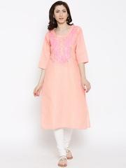 Shree Peach-Coloured Embroidered Kurta