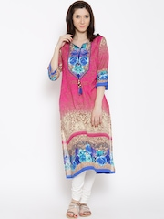 Shree Pink & Blue Printed Kurta