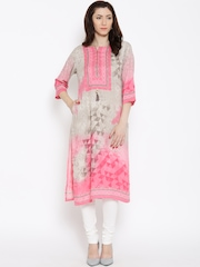Shree Taupe & Pink Printed Kurta
