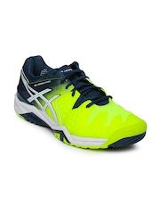 ASICS Men Fluorescent Green & Blue Gel-Resolution 6 Tennis Shoes