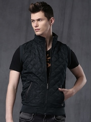 WROGN Navy Quilted Sleeveless Jacket
