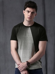 WROGN Men Black & Grey Colourblock Round Neck Slim T-shirt