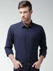 Mast & Harbour Men Blue Denim Regular Fit Solid Casual Shirt