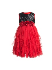 Toy Balloon kids Girls Red & Black A-Line Dress