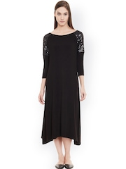 Femella Black Midi Dress with Sequinned Detail