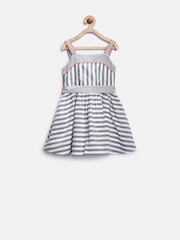 Marks & Spencer Kids Girls Off-White Striped Fit & Flare Dress
