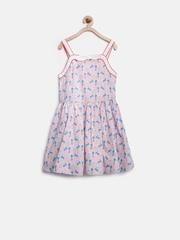 Marks & Spencer Kids Girls Blue & Red Heart Print Fit & Flare Dress