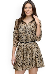 The Gud Look Beige Animal Print Fit & Flare Dress