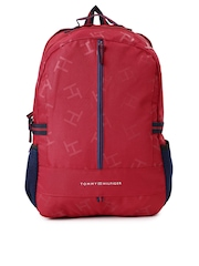 Tommy Hilfiger Unisex Red & Navy Printed Backpack