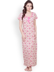 Claura Pink Floral Print Maxi Nightdress cot-12