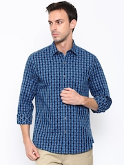John Players Men Blue Trim Fit Checked Casual Shirt