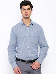John Players Men Blue Regular Fit Checked Smart Casual Shirt