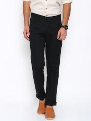 John Players Men Black Slim Fit Flat-Front Trousers