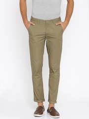 John Players Men Olive Brown Slim Fit Flat-Front Trousers