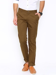 John Players Men Brown Solid Flat-Front Slim Fit Casual Trousers